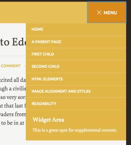 Edda's menu and widget area