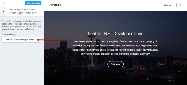 venture: regular featured page