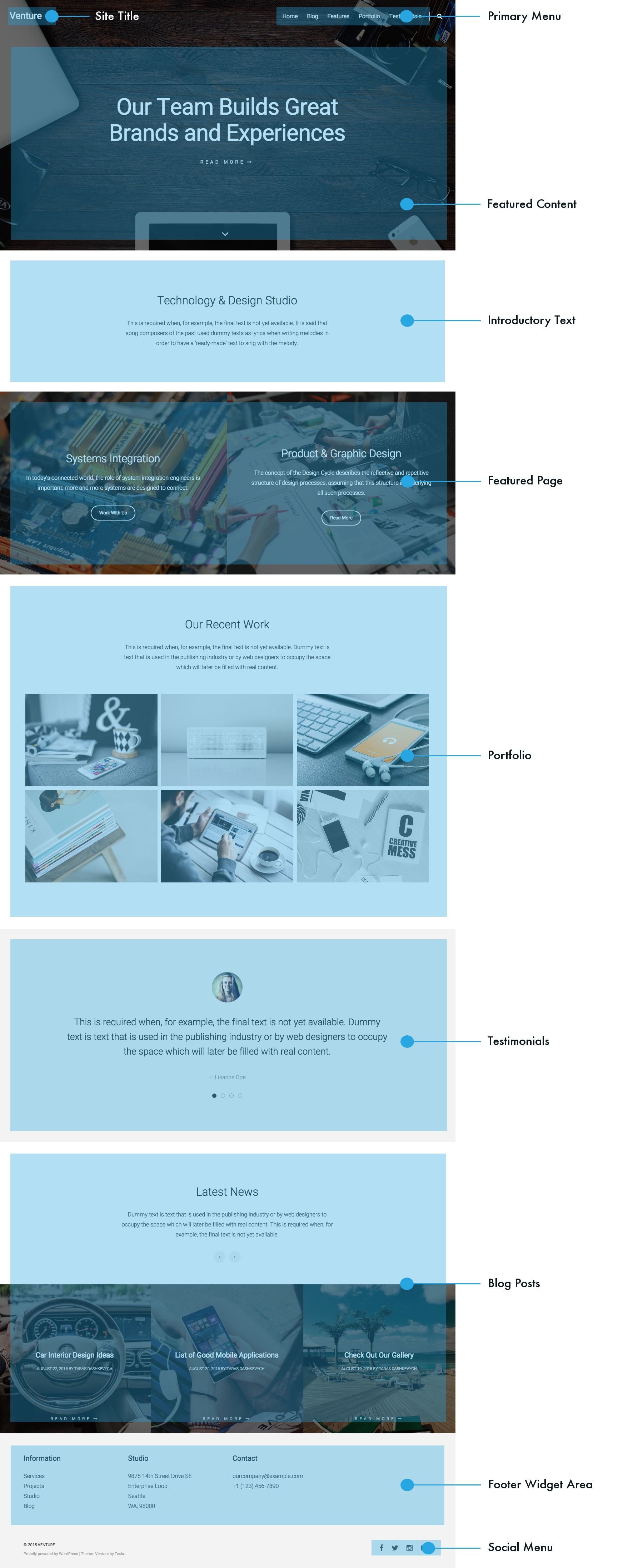 Venture Theme WordPresscom - Website front page template