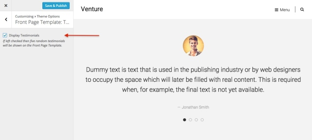 venture: front page testimonials