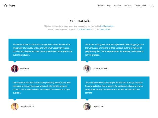 venture: testimonials