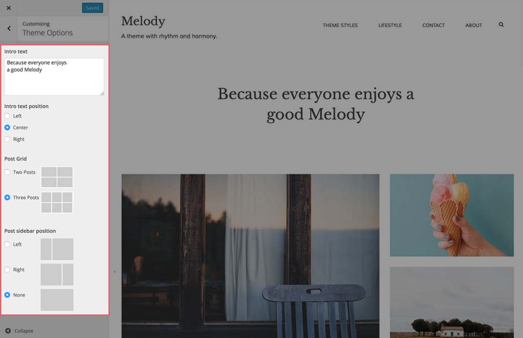 Melody Customizer Theme Options open