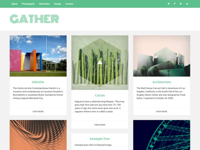 Screenshot of Gather theme home page.