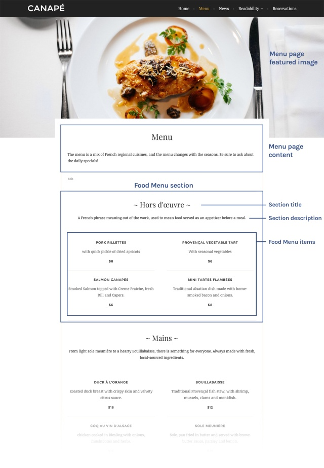 Canapé Menu Template