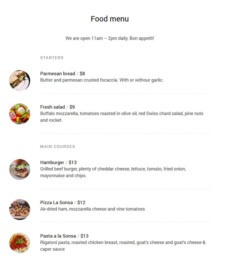 Food Menu on Sonsa Theme