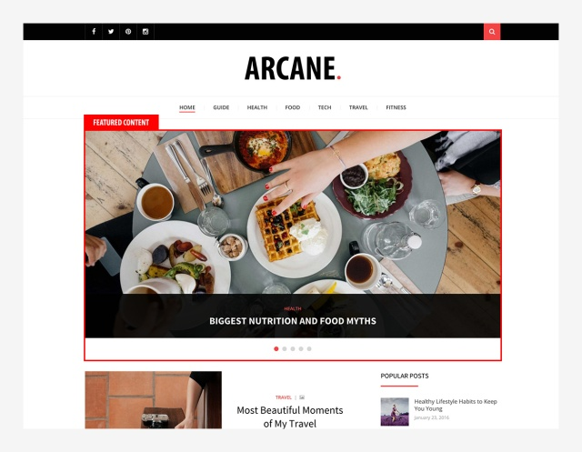 featured-content-section-arcane-wordpress-theme