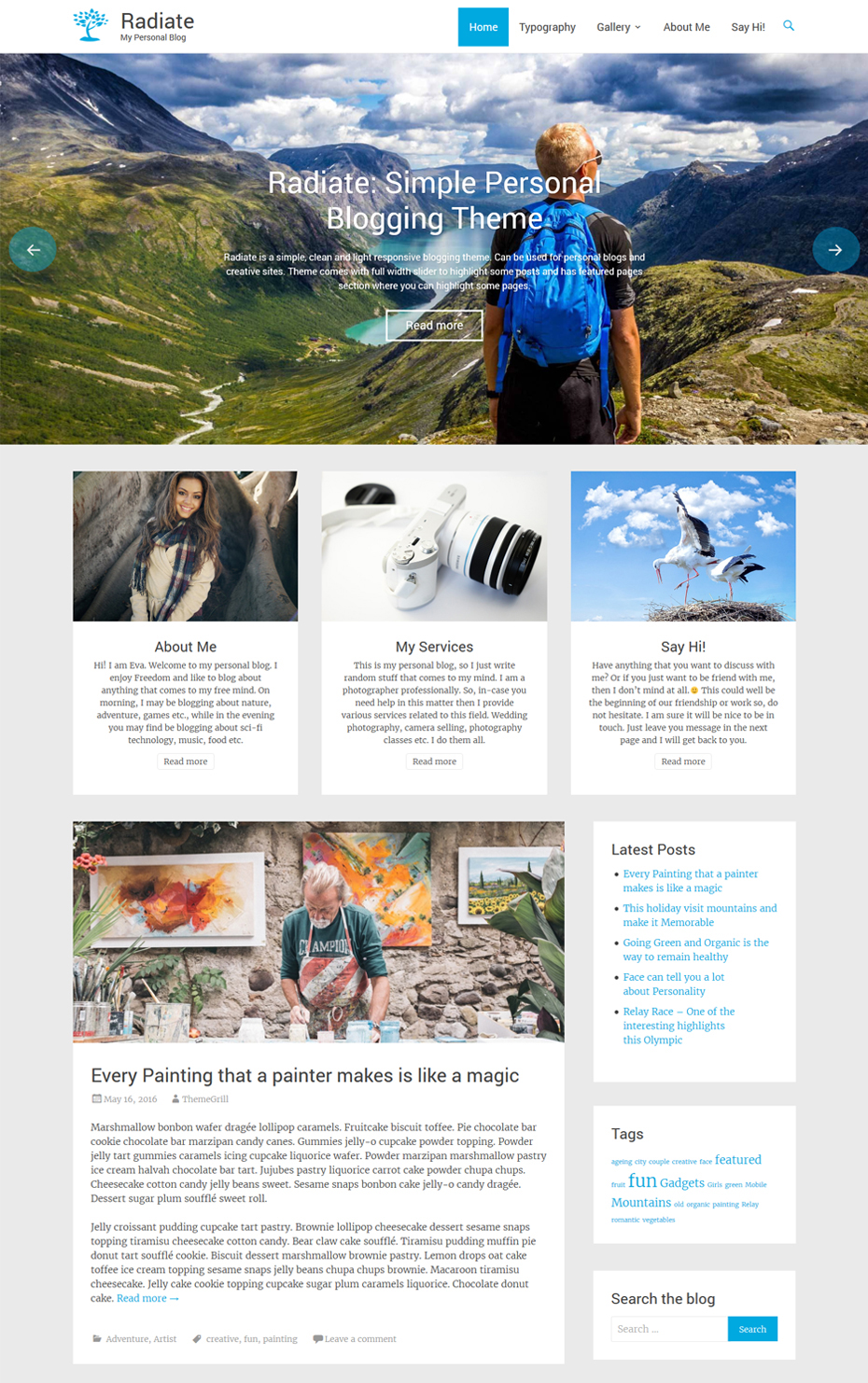 How to create a featured content gallery in wordpress - Radiate S Eye Catching Typography And Clean Minimal Design Lets You Focus On Writing Engaging Content The Theme Is Well Suited For Personal Blogs
