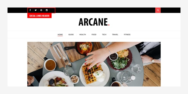 social-links-header-arcane-magazine-theme