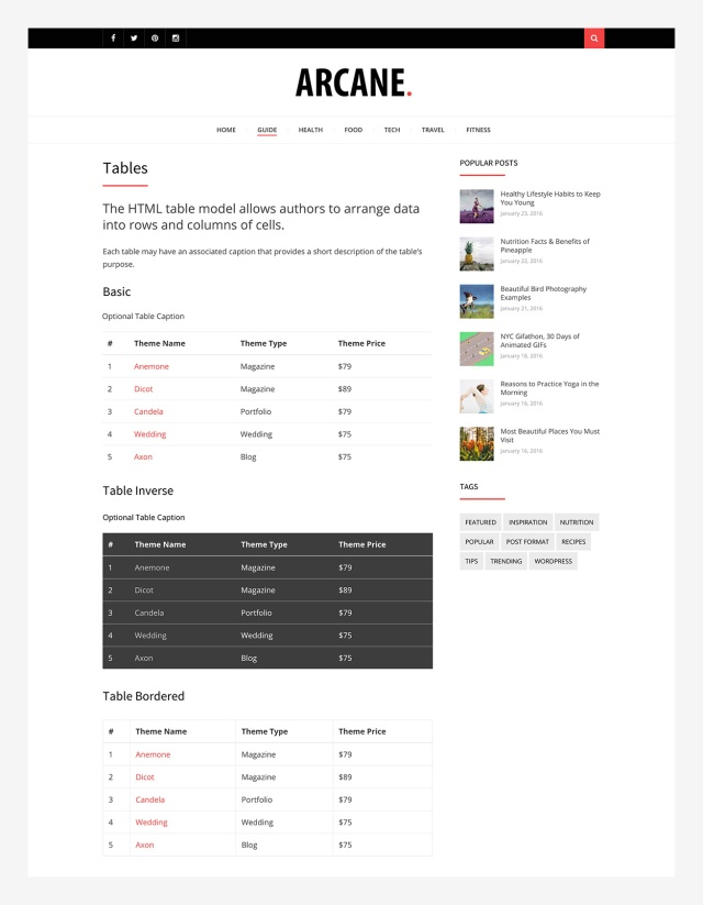tables-arcane-wordpress-theme