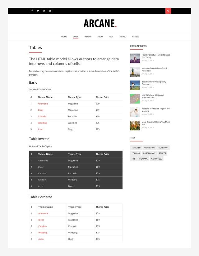 tables-arcane-wordpress-theme