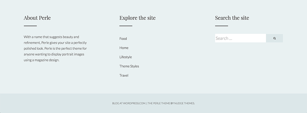 Perle Docs - Footer Widgets