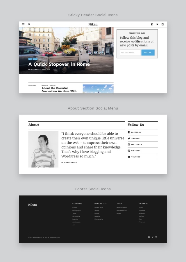 Nikau WordPress Magazine Theme Social Icons