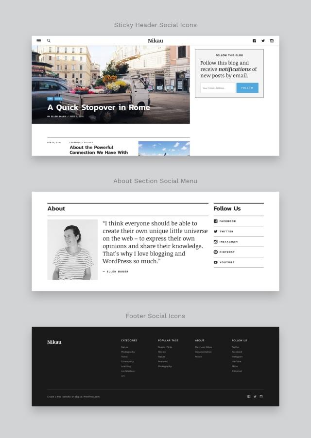 Nikau WordPress Magazine Theme Social Icons