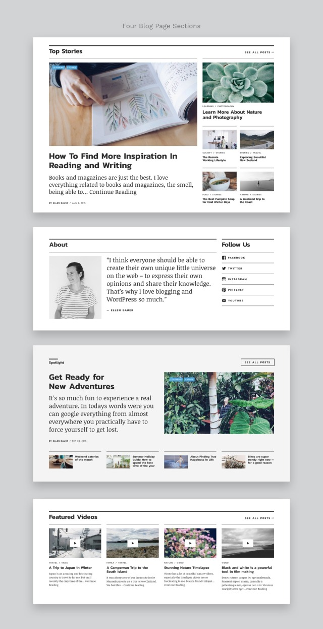 Nikau Magazine WordPress Theme Blog Page Sections
