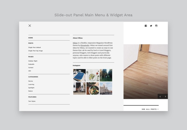 Nikau WordPress Theme Slide-out Panel