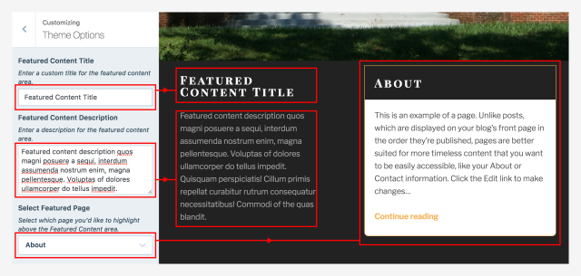TextBook Featured Content Theme Options