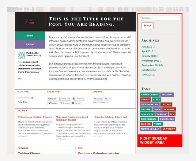 TextBook Right Sidebar Widget Area