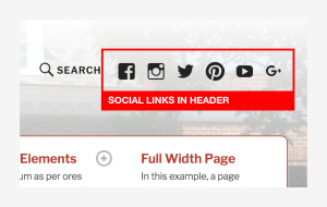 TextBook Social Links in Header