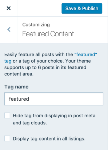 Set the Featured Content tag first.