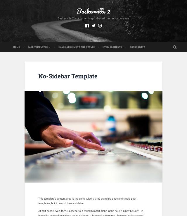 No-sidebar template