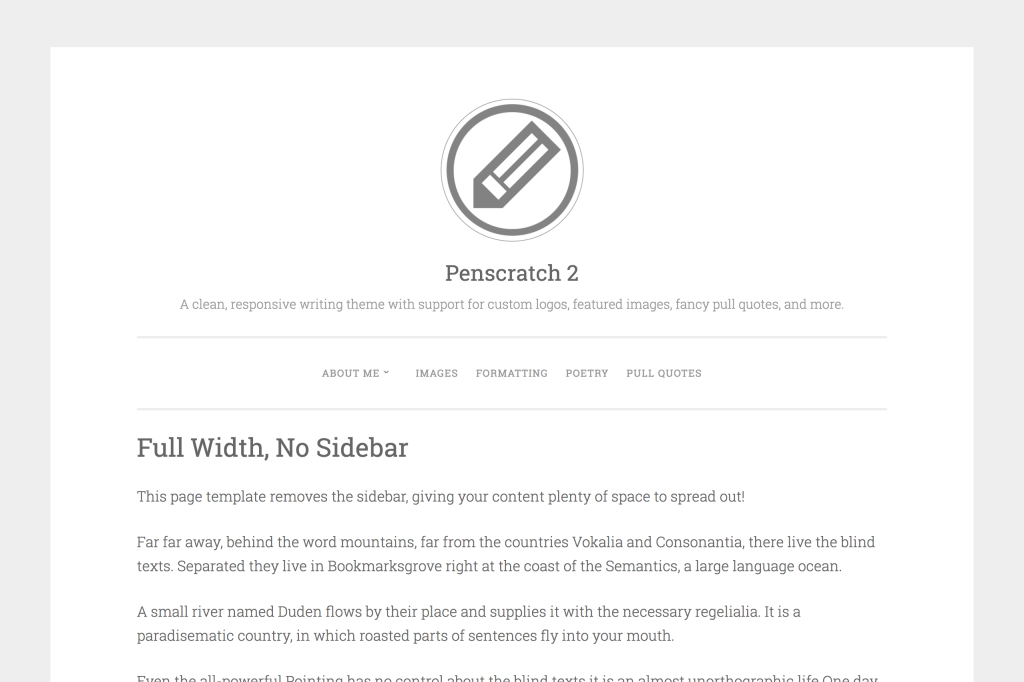 Full-width page template