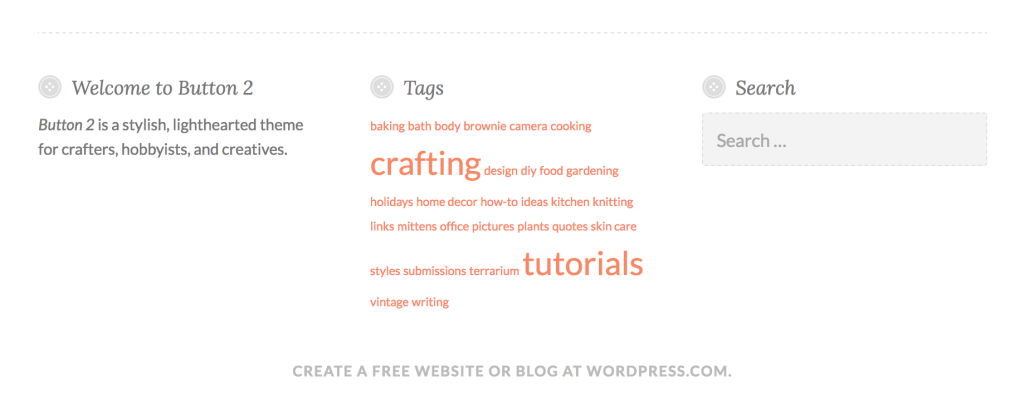 Footer widgets in Button 2.