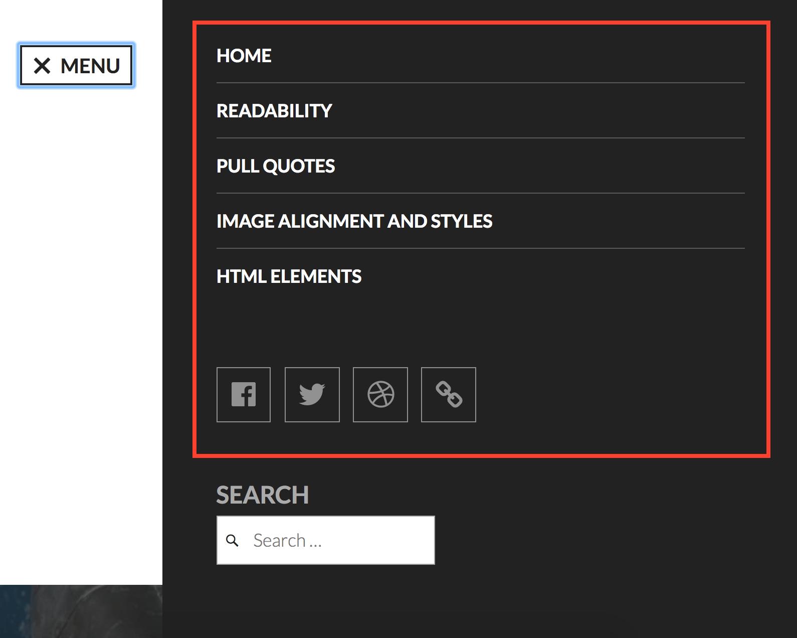 Navigation and social links menu
