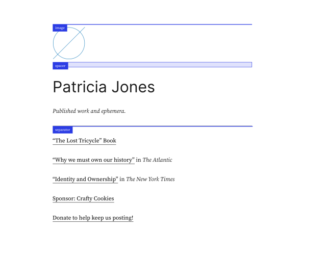Jones Theme Homepage with outlined blocks